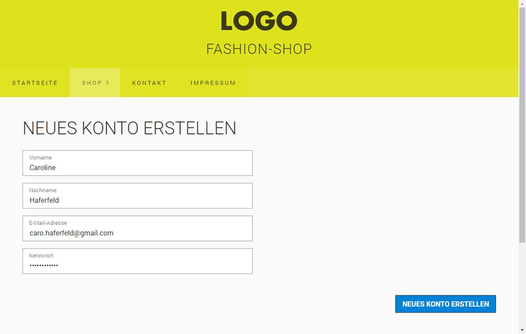 Kundenkonto (Login)