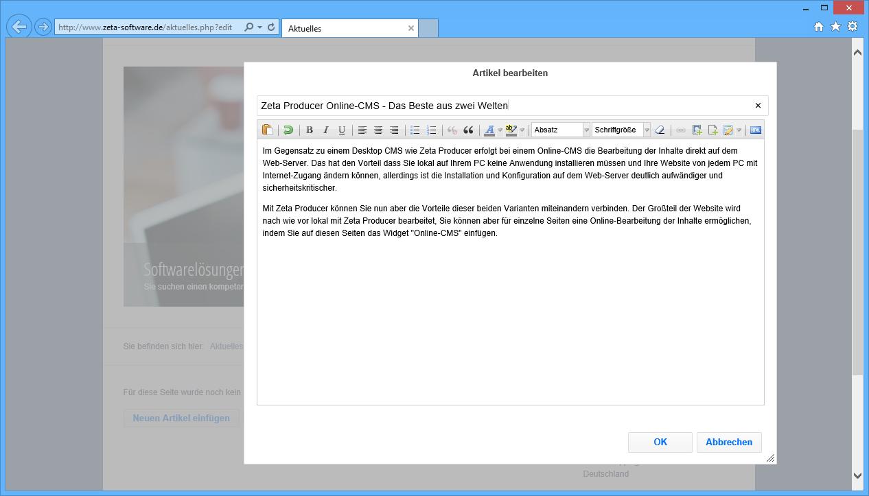So bearbeiten Sie die Inhalte der Seite online im Browser
